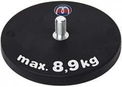 Magnetsystem aus NdFeB, Gummimantel schwarz, mit Gewindezapfen