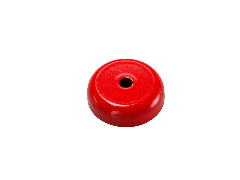 AlNiCo Shallow Pot Holding Magnet Ø 19,1mm - Ø 38,1mm red painted, 180°C - Force: 80 N (approx. 8 kg) - Power Industrial AlNiCo Magnets