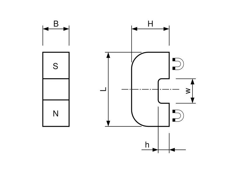 Hufeisenmagnet, Brückenform AlNiCo rot lackiert 180°C - 1