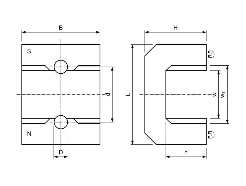 Hufeisenmagnet, Brückenform AlNiCo rot lackiert 180°C - 3