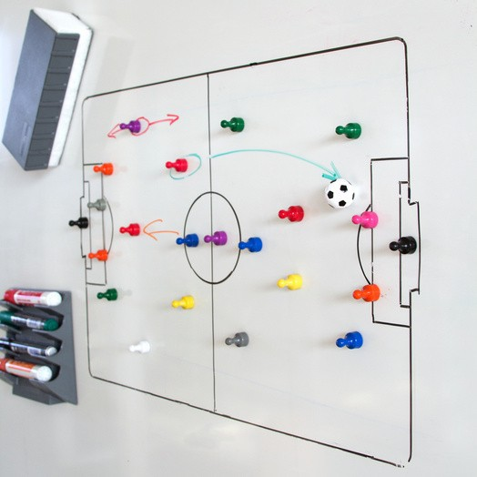Memo magnets soccerball | Soccer Ball Magnets set with 4 pcs magnets Ø 22mm