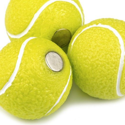 Memo magnets Tennis | Deco magnets set of 4 yellow tennis balls Ø 22mm