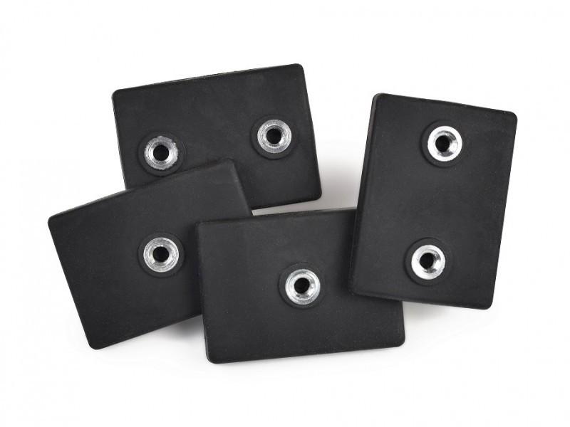 Rubber Coated Neodymium Magnets 43x31x6 mm 2x internal thread rubber jacket