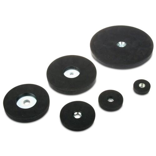Base Magnetiche in Neodimio Ø 22 mm - Ø 66 mm gommato con foratura