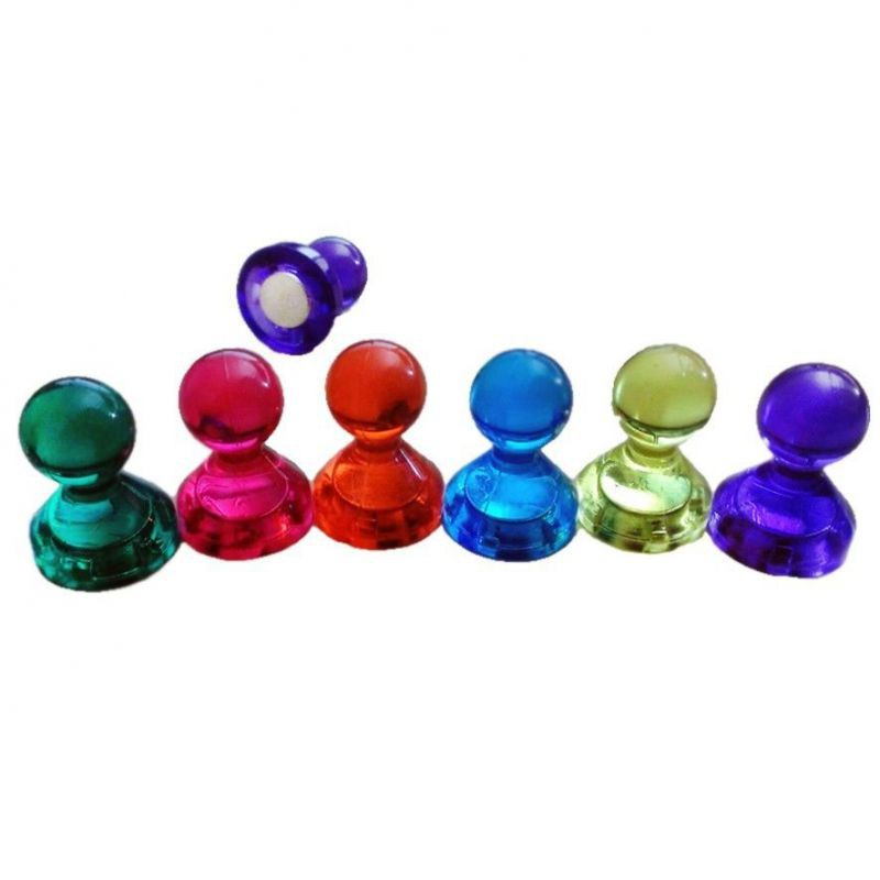 10 x Clear Magnetic Push Pins assorted colors Ø 14x16mm fridge magnet, hold 2kg
