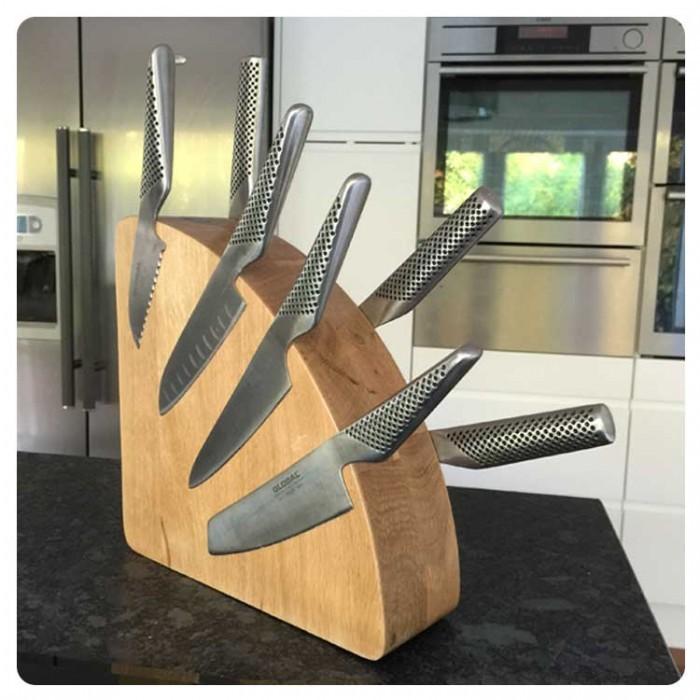 Magnet Messerblock Holz, Original Eiche, Platz für 10 Messer