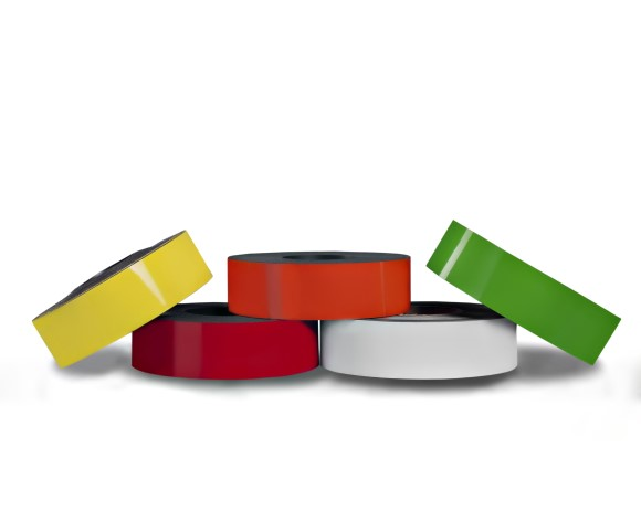Dry Erase Magnetic Strip 15' (5 meter) Roll, Magnetic tape coloured magnetic strip labeling strip, Color magnets for use in charts and other whiteboard displays, Colored Magnetic Strips and Rolls, Magnetic tape coloured magnetic strip labeling strip