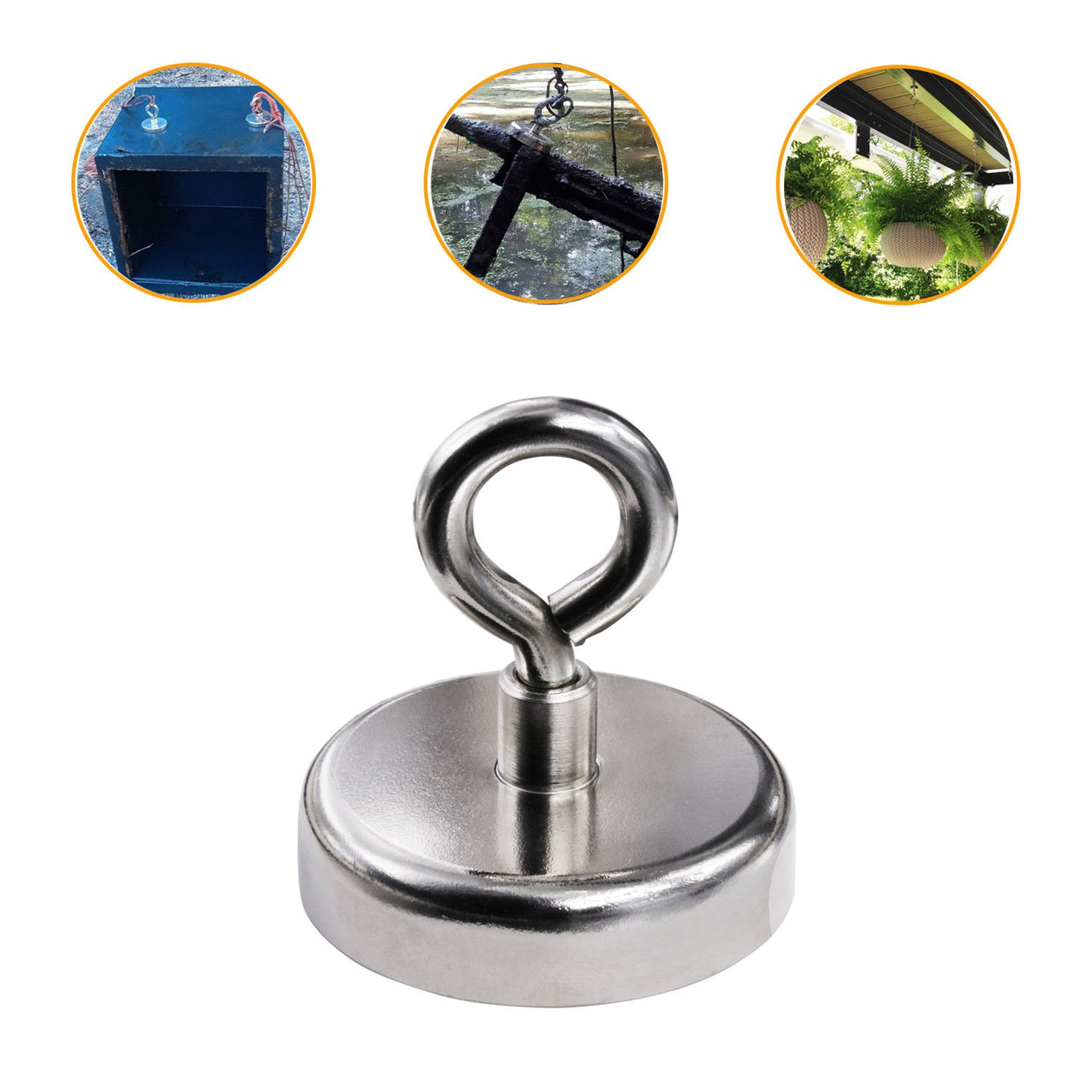 Fishing Magnet Super Strong Neodymium Round Thick Eyebolt Treasure Hunt 1200Kg