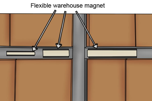 Three flexible warehouse magnets labelling products on shelves