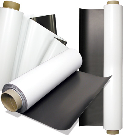White gloss ferrous sheet with self adhesive 0,6mm x 100cm x 20m