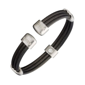 Magnetic Bracelet Wristband Trio Cable Black Satin w/ 5 Samarium-Cobalt Magnets