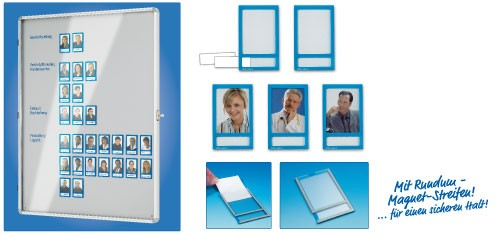 5 x Magnetic photo pockets, photo size 60 mm x 80 mm,  blue - 5 pieces