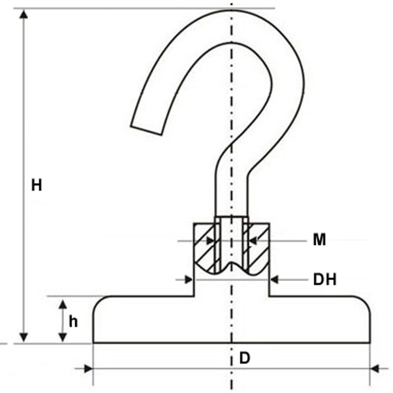 Magnethaken, Magnet mit Haken Ø 10 - 75mm, Neodym, Zink