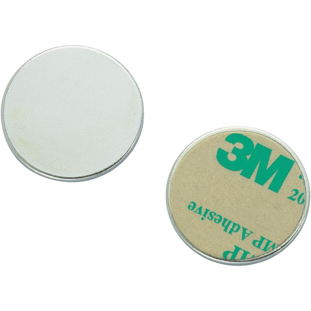 20 x Round Circle Disc Magnets self-adhesive Ø  8 x  0,75mm Neodymium N35, Nickel-plated - Force 0,3 kg - 20 pieces - Magnetic Discs - Super Strong (NdFeB) Rare Earth Magnet