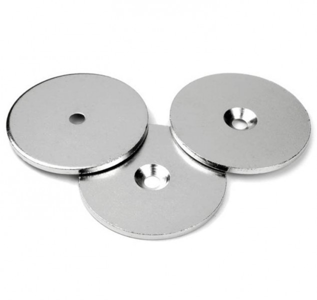 Steel discs with countersunk borehole - counterpart to magnets Ø 27mm x 3mm