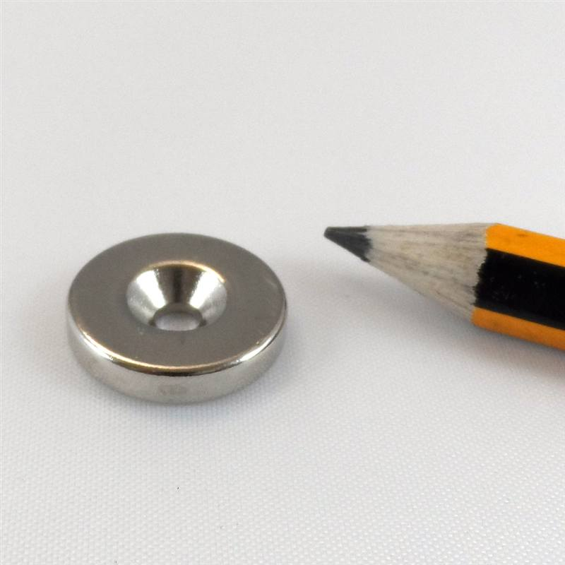 Ring Magnet countersunk Ø 20 x Ø  4,3 x 5mm Neodymium N35 - N-pole