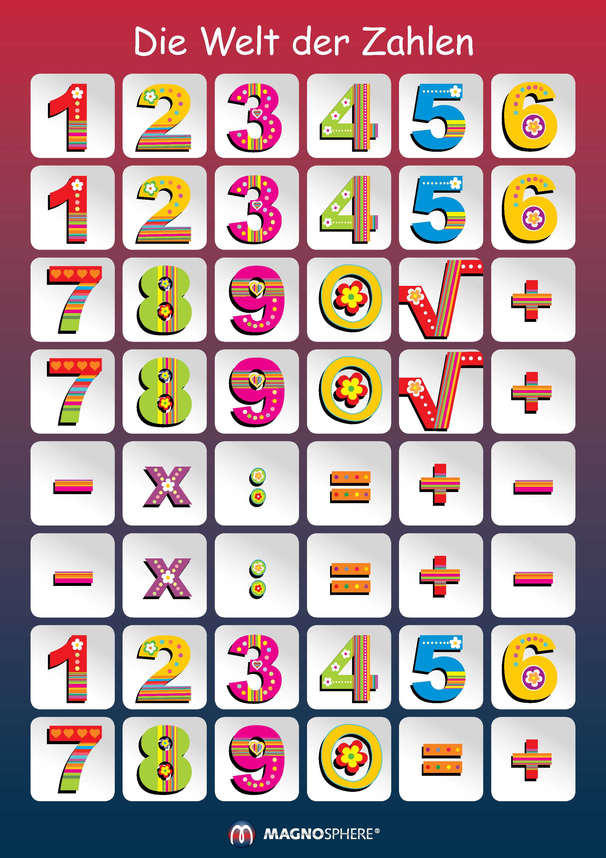 Kids Magnetic Calendar, My First Learning Calendar DIN A3 - 29,7 x 42 cm, 41 pcs - 2