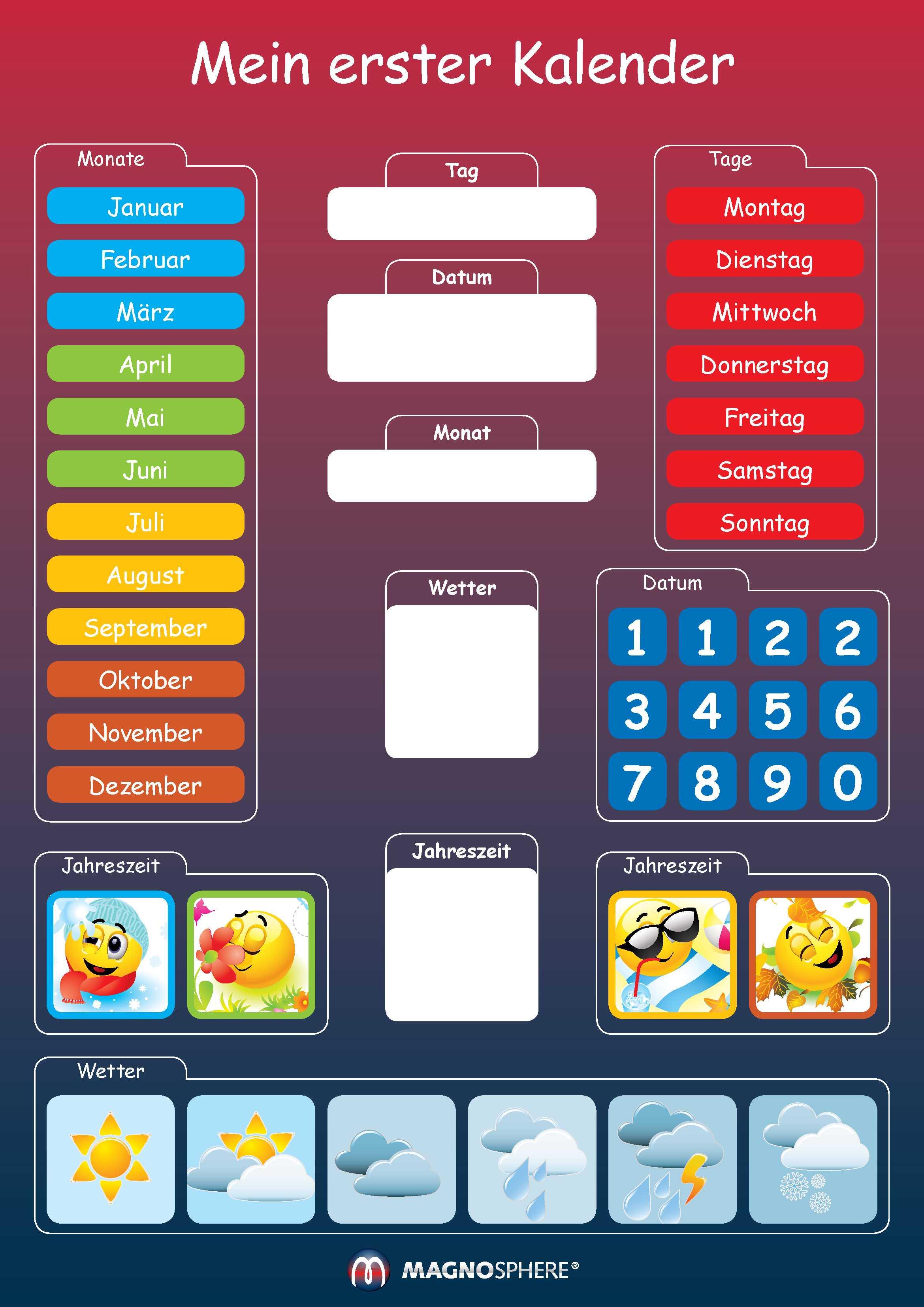 Kids Magnetic Calendar, My First Learning Calendar DIN A3 - 29,7 x 42 cm, 41 pcs