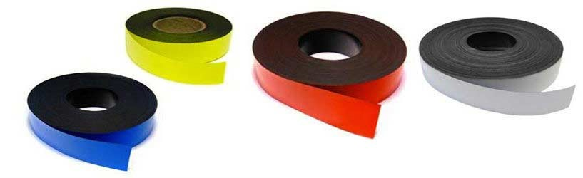 Coloured Magnetic Tape Strips Marking Tape Label Magnets 0,85mm x 100mm x 5m - Labeling tape for marking and labeling, quickly removable - 5 Colors: white, yellow, red, green, blue