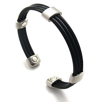 Magnetic Bracelet Wristband Trio Cable Black Satin with 5 Samarium-Cobalt (Rare Earth) Magnets, 1200 Gauss each magnet - Elegant energy bracelet with wellness effect