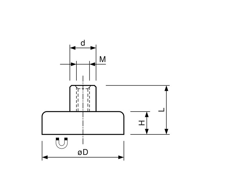 Flachgreifer Topfmagnet Hartferrit Gewindebuchse verzinkt Ø 10mm - Ø 125mm - 1