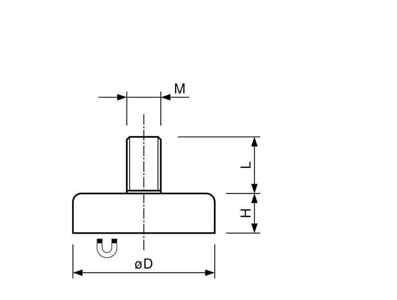Flachgreifer / Topfmagnet Hartferrit mit Gewindezapfen verzinkt Ø 10mm - Ø 63mm - 1