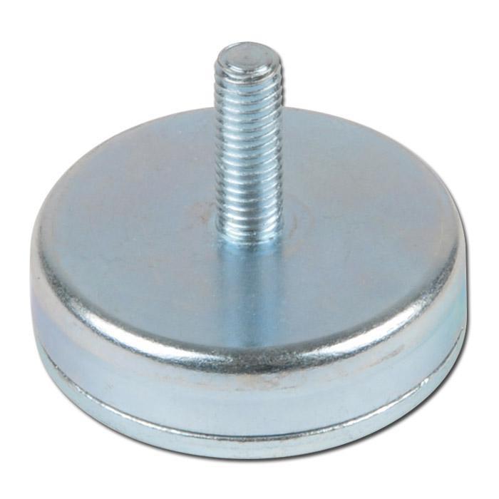 Flachgreifer / Topfmagnet Hartferrit mit Gewindezapfen verzinkt Ø 10mm - Ø 63mm - 2