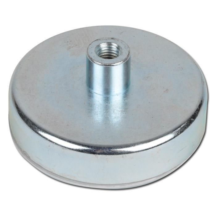 Flachgreifer Topfmagnet Neodym Gewindebuchse verzinkt Ø 6mm - Ø 32mm - 2