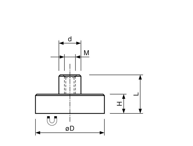 Flachgreifer Topfmagnet Neodym Gewindebuchse verzinkt Ø 6mm - Ø 32mm - 1