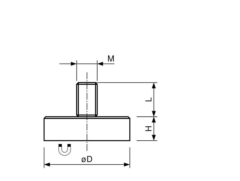 Flachgreifer / Topfmagnet Neodym mit Gewindezapfen verzinkt Ø 10mm - Ø 32mm - 1