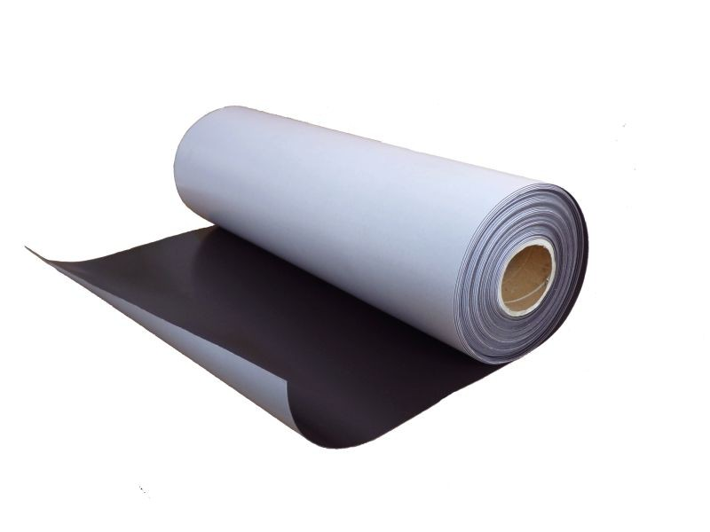 Plain magnetic sheet with self adhesive 0,9mm x 12cm x 100cm