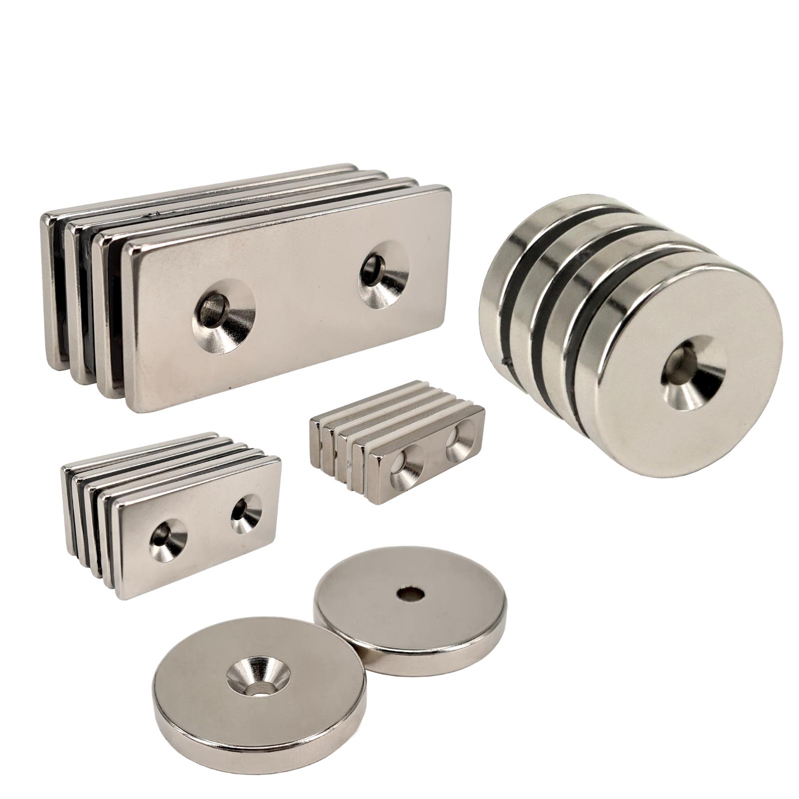 Neodym Magnete Topfmagnete mit Senkung Ringmagnete mit Bohrung zum Anschrauben